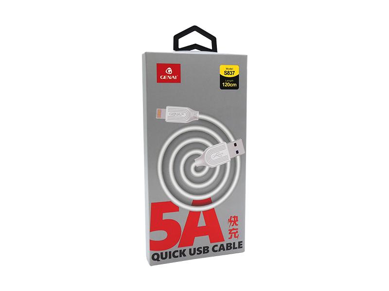 CABO DE DADOS 5A IPHONE 5/6/7/8/X QUICK BOX GENAI S837