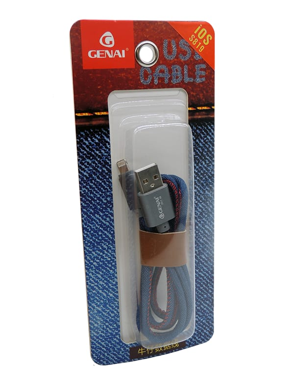 CABO DE DADOS JEANS BLISTER IPHONE 5/6/7/8/X GENAI S819