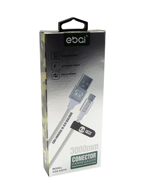 CABO DE DADOS NYLON 3M V8/MICRO USB EBAI CDX-A2010