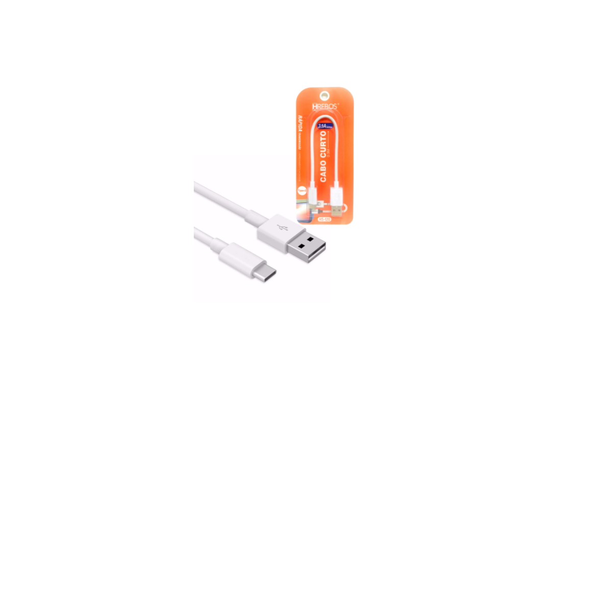 CABO USB TIPO C 25CM HREBOS TYPE-C 3.1A HS-120