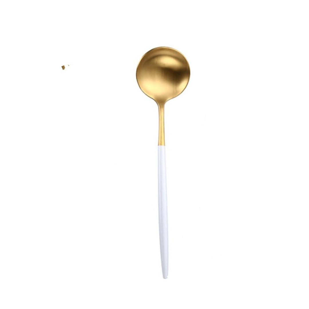 Colher de Servir Bicolor Dourado e Branco
