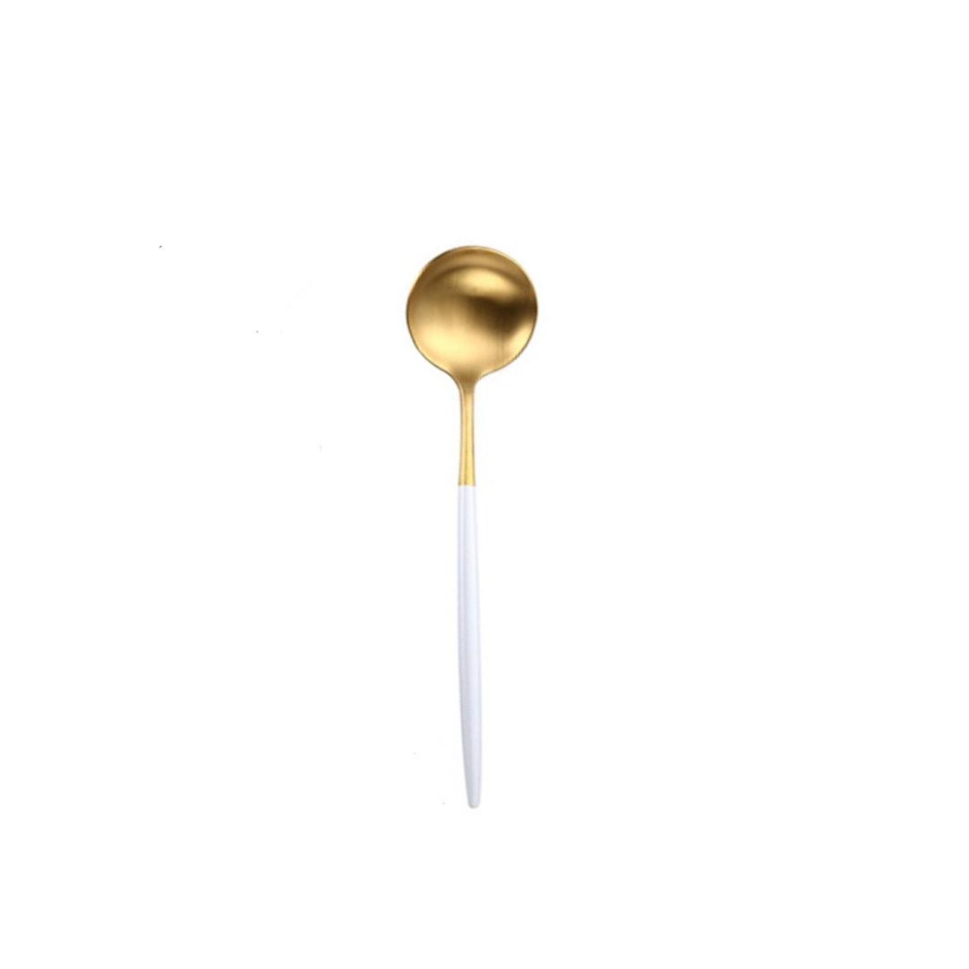 Colher de Sobremesa Bicolor Branco e Dourado