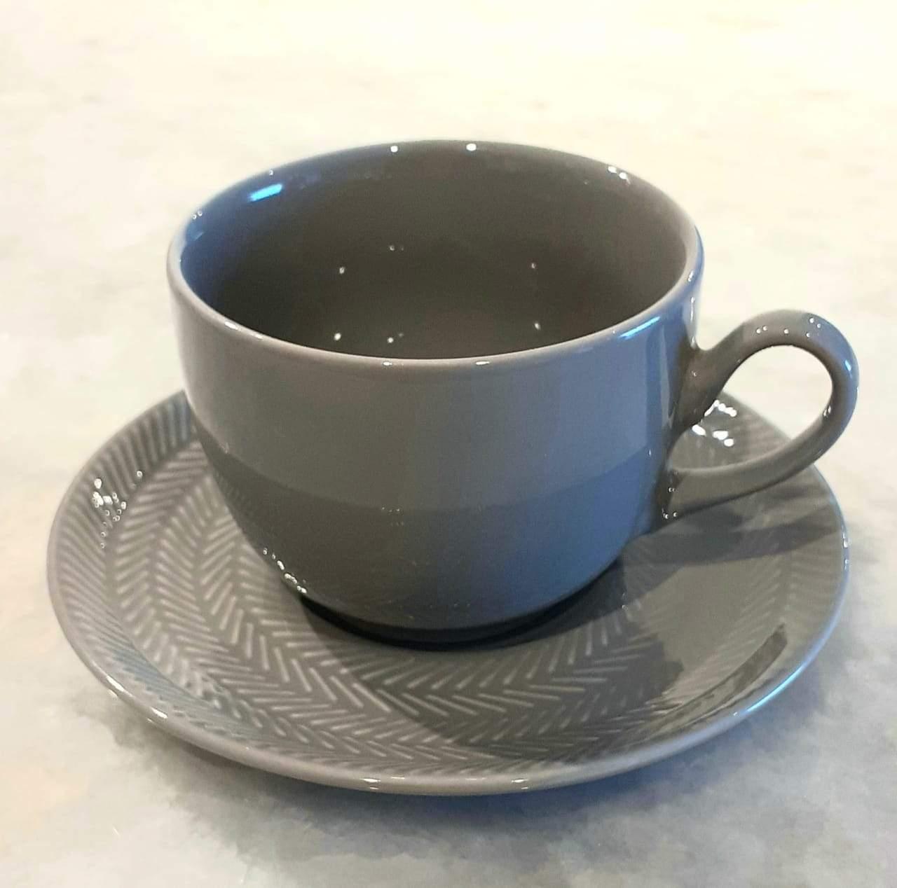 Xícara de Chá Com Pires Ágata Chevron
