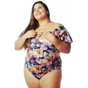 Body Plus Size Estampado Raposa Floral Cherry Pop (VESTE 52 ATÉ O 54)