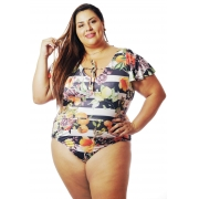 Body Plus Size Estampado Tropicália Frutas Cherry Pop (VESTE 52 ATÉ O 54)
