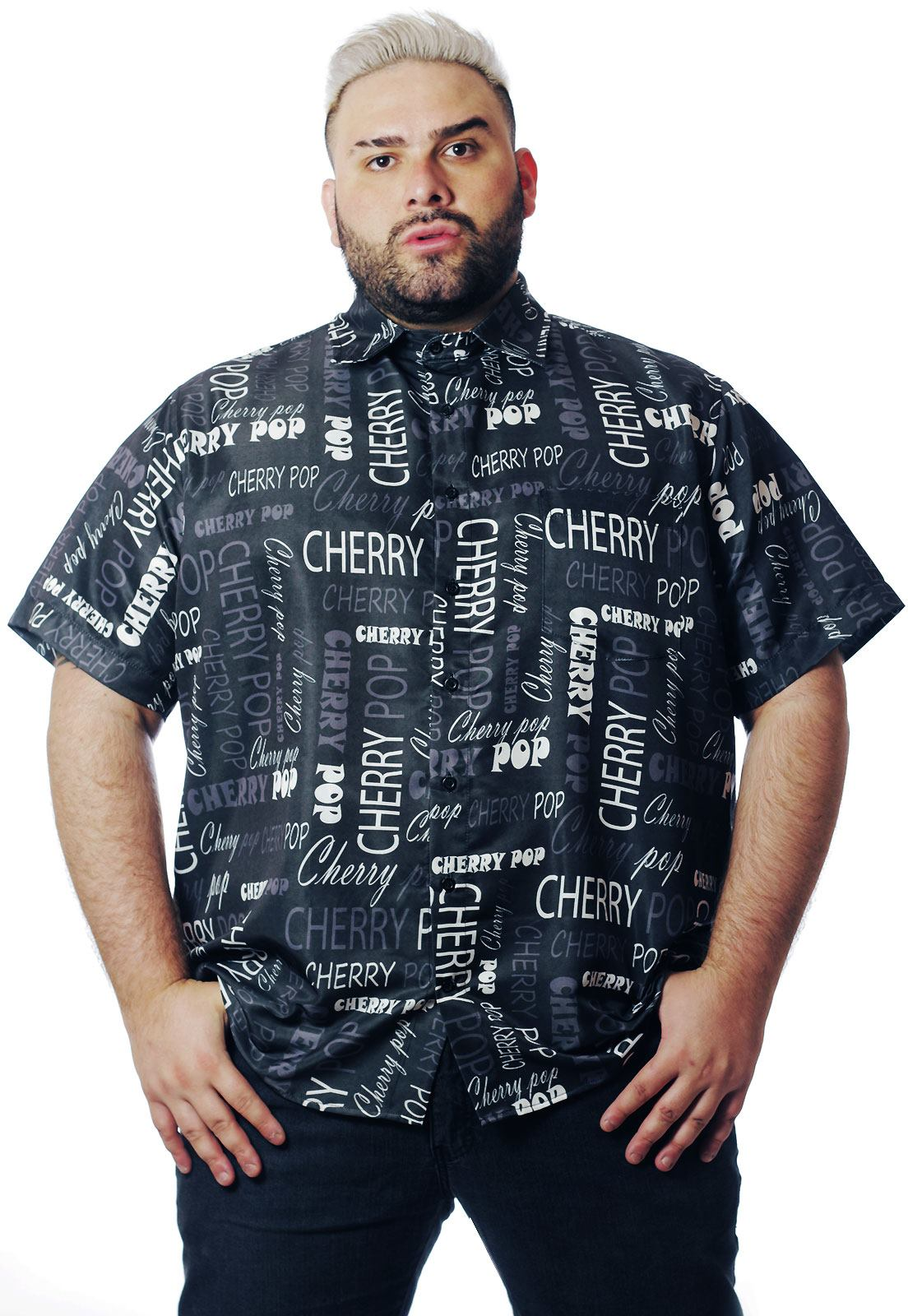 Camisa Plus Size Estampada Lettering Cherry (P Ao Plus Size)