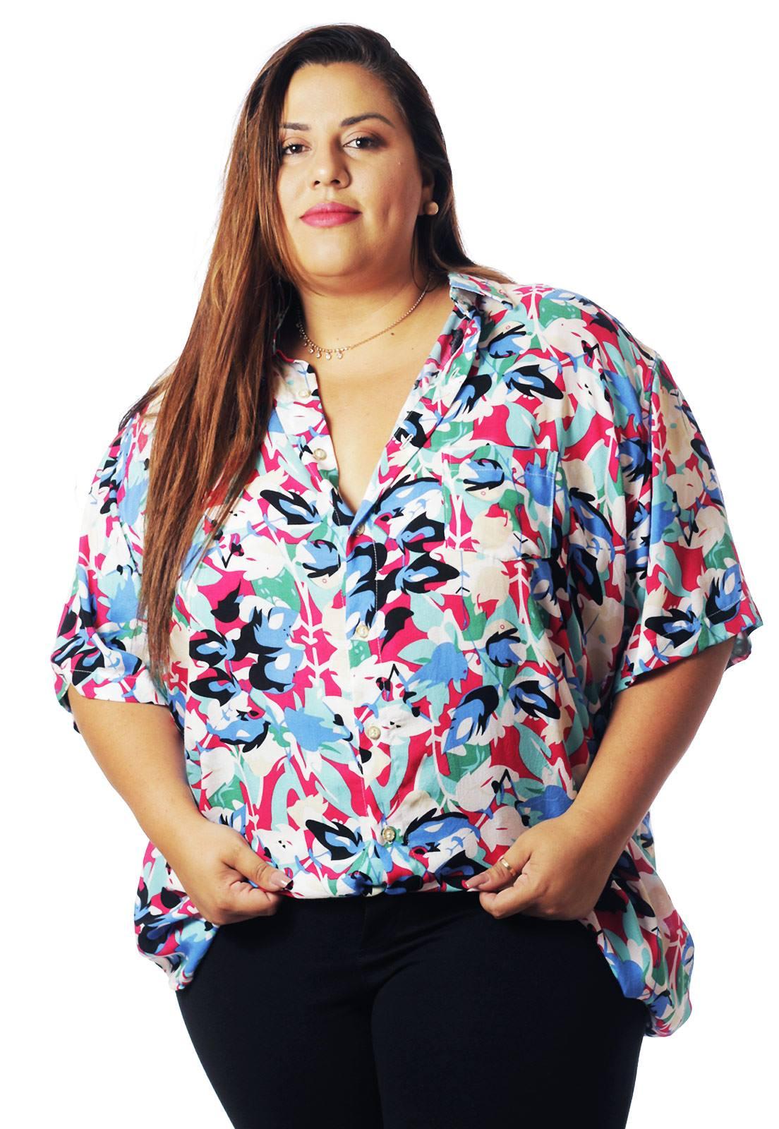 Camisa Plus Size Estampada Viscose Cherry Pop Artsy (P Ao Plus Size)