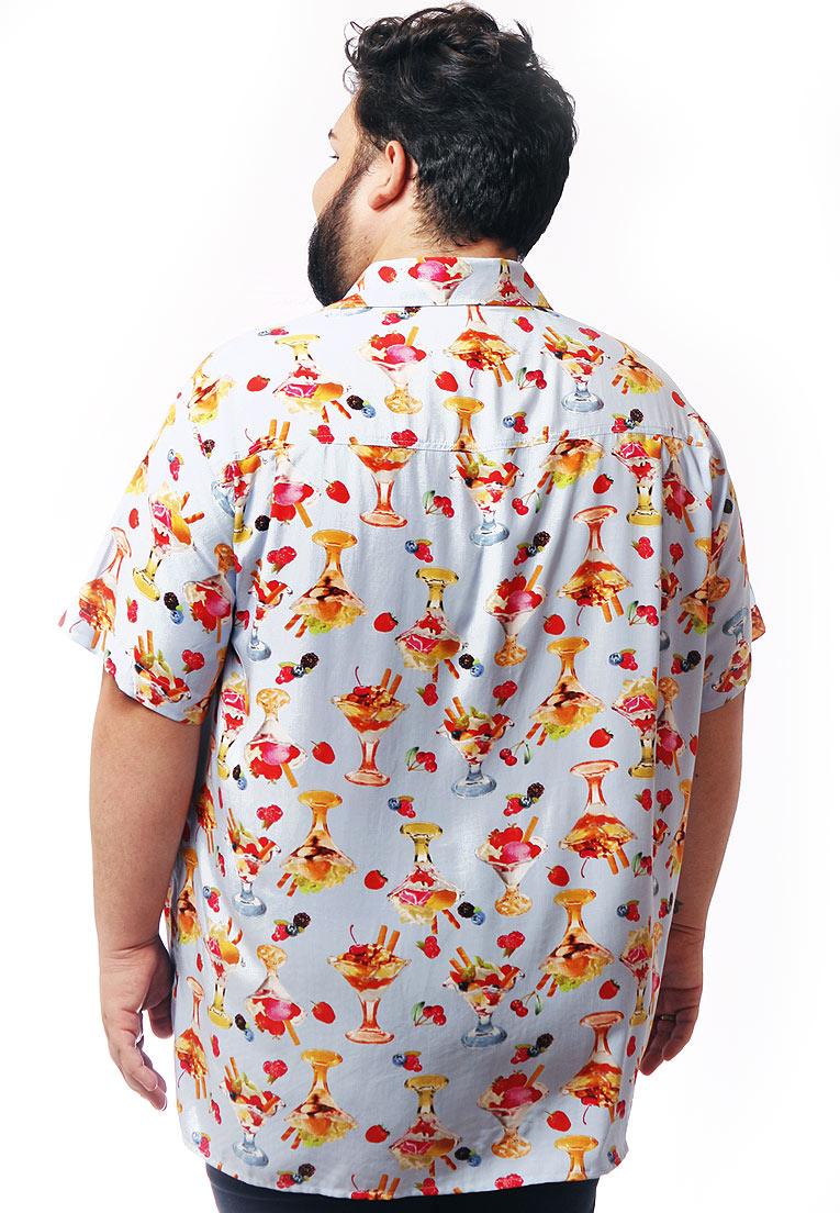 Camisa Plus Size Estampada Viscose Cherry Pop Candy Paradise (P Ao Plus Size)