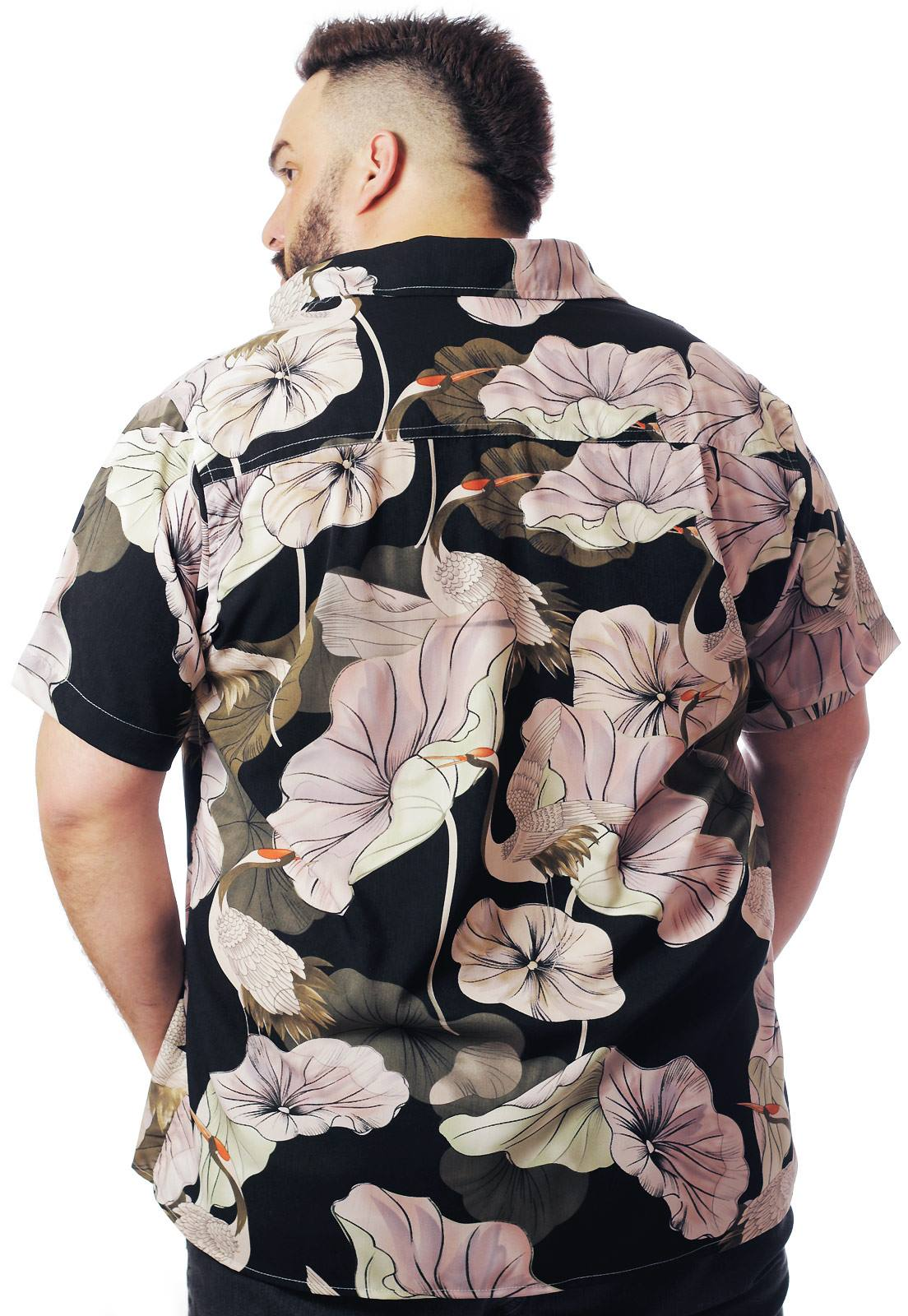Camisa Plus Size Estampada Viscose Cherry Pop Cisne (P Ao Plus Size)