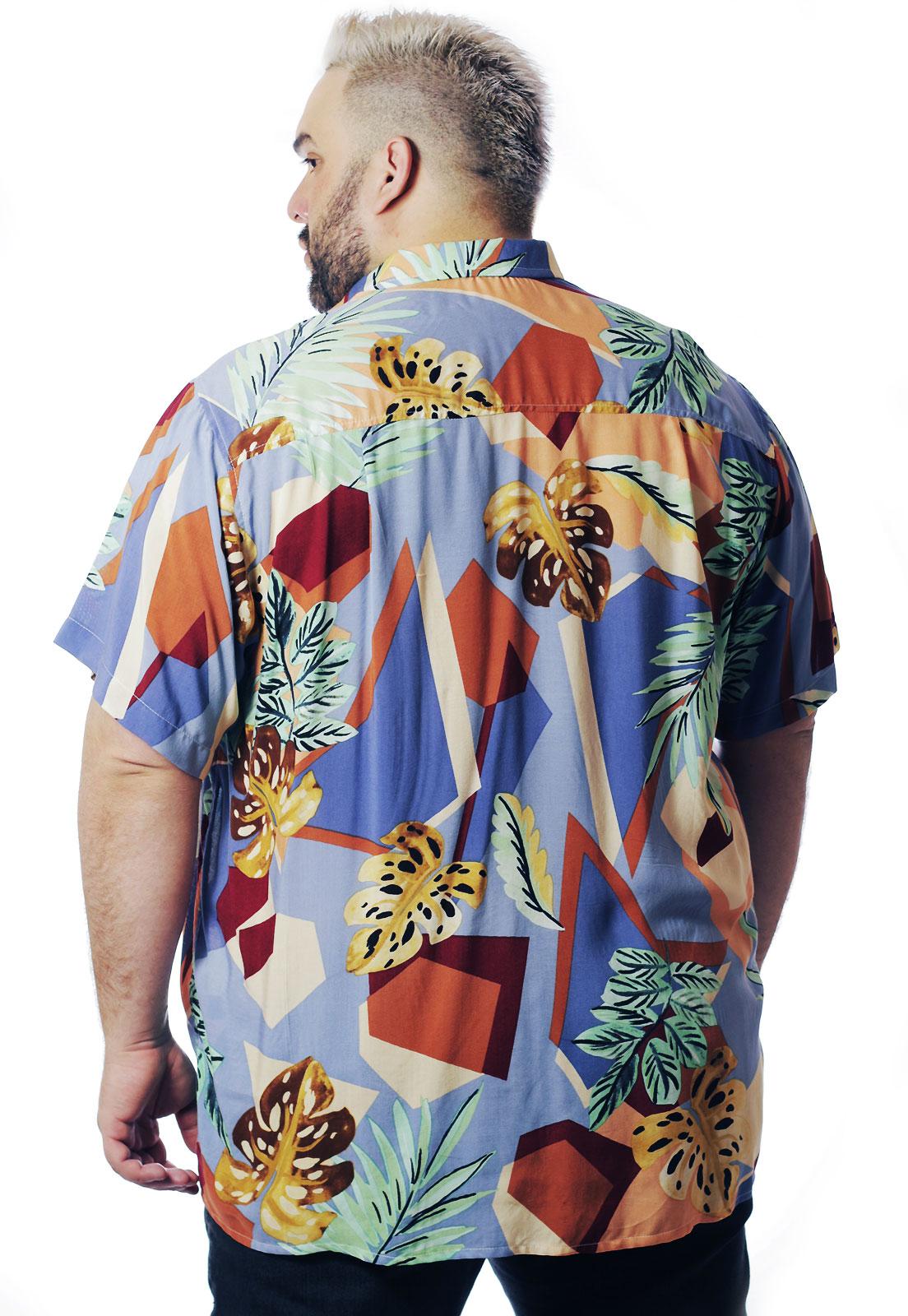 Camisa Plus Size Estampada Viscose Cherry Pop Geométrica (P Ao Plus Size)