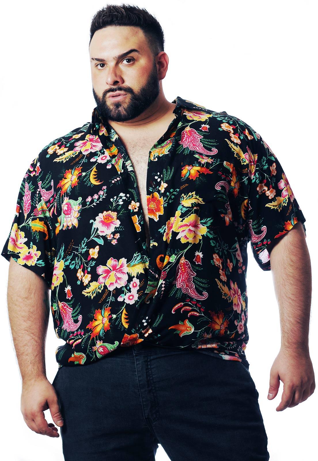 Camisa Plus Size Estampada Viscose Cherry Pop Miami (P Ao Plus Size)