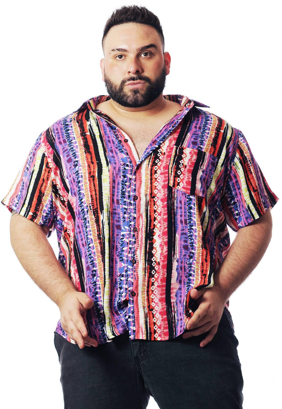 Camisa Plus Size Estampada Viscose Cherry Pop Tribal (P Ao Plus Size)