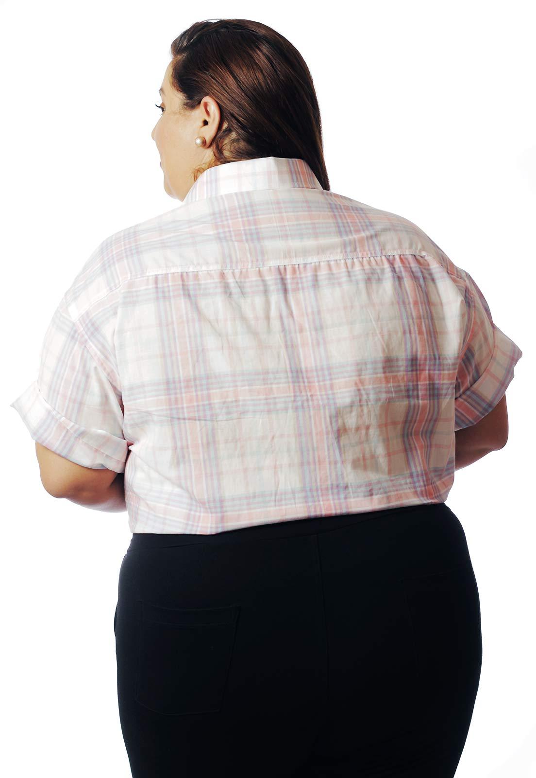 Camisa Plus Size Estampada Viscose Cherry Pop Xadrez (P Ao Plus Size)