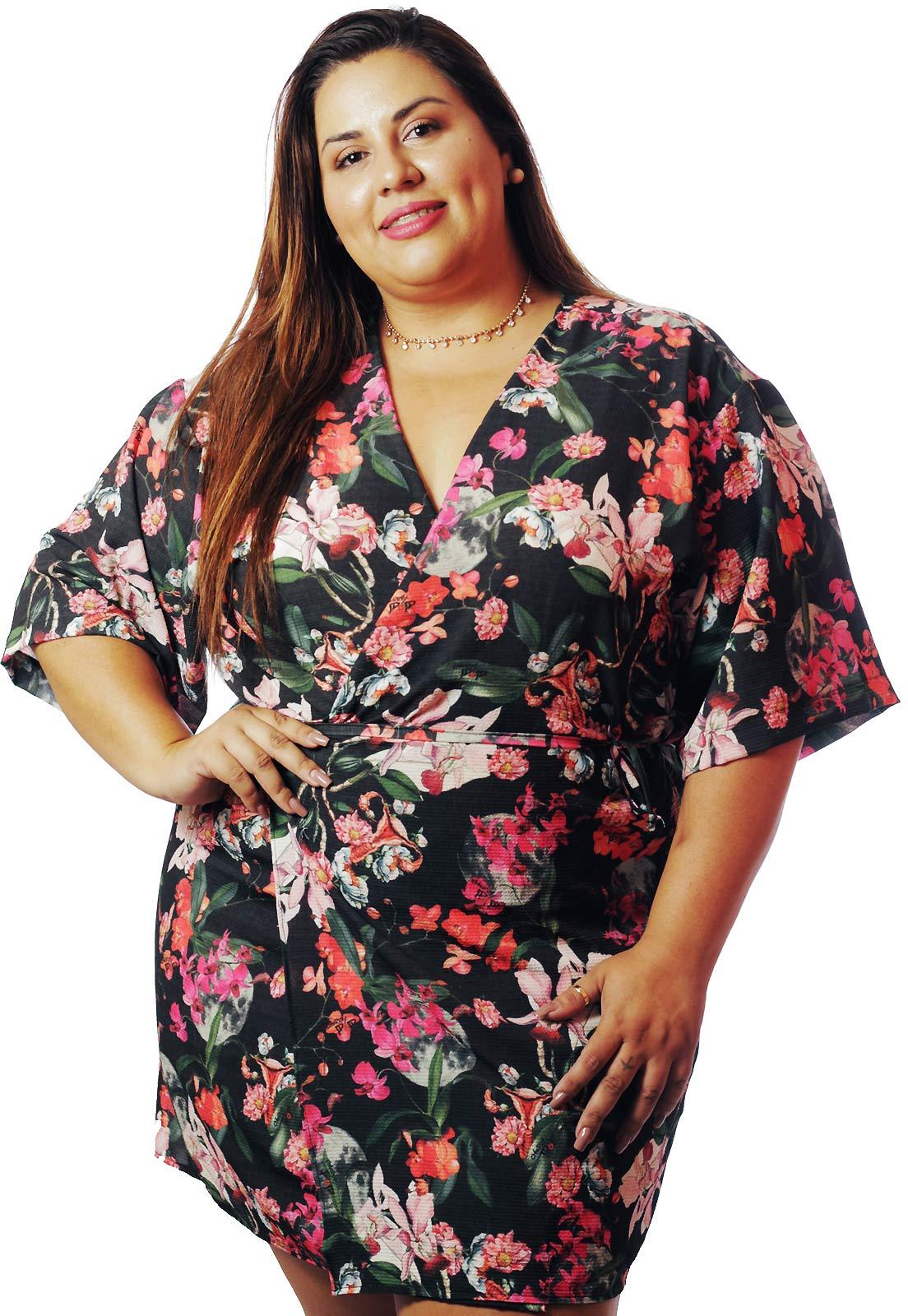 Kimono Plus Size Feminista Útero Floral de Amor Cherry Pop