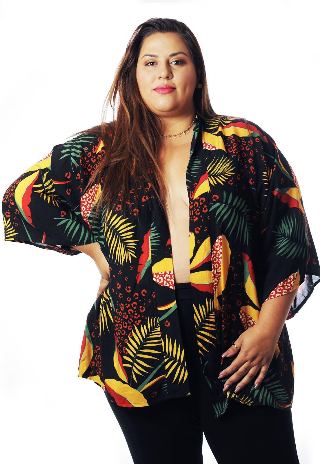 Kimono Plus Size Floral Folhagens Sem Gênero Cherry Pop