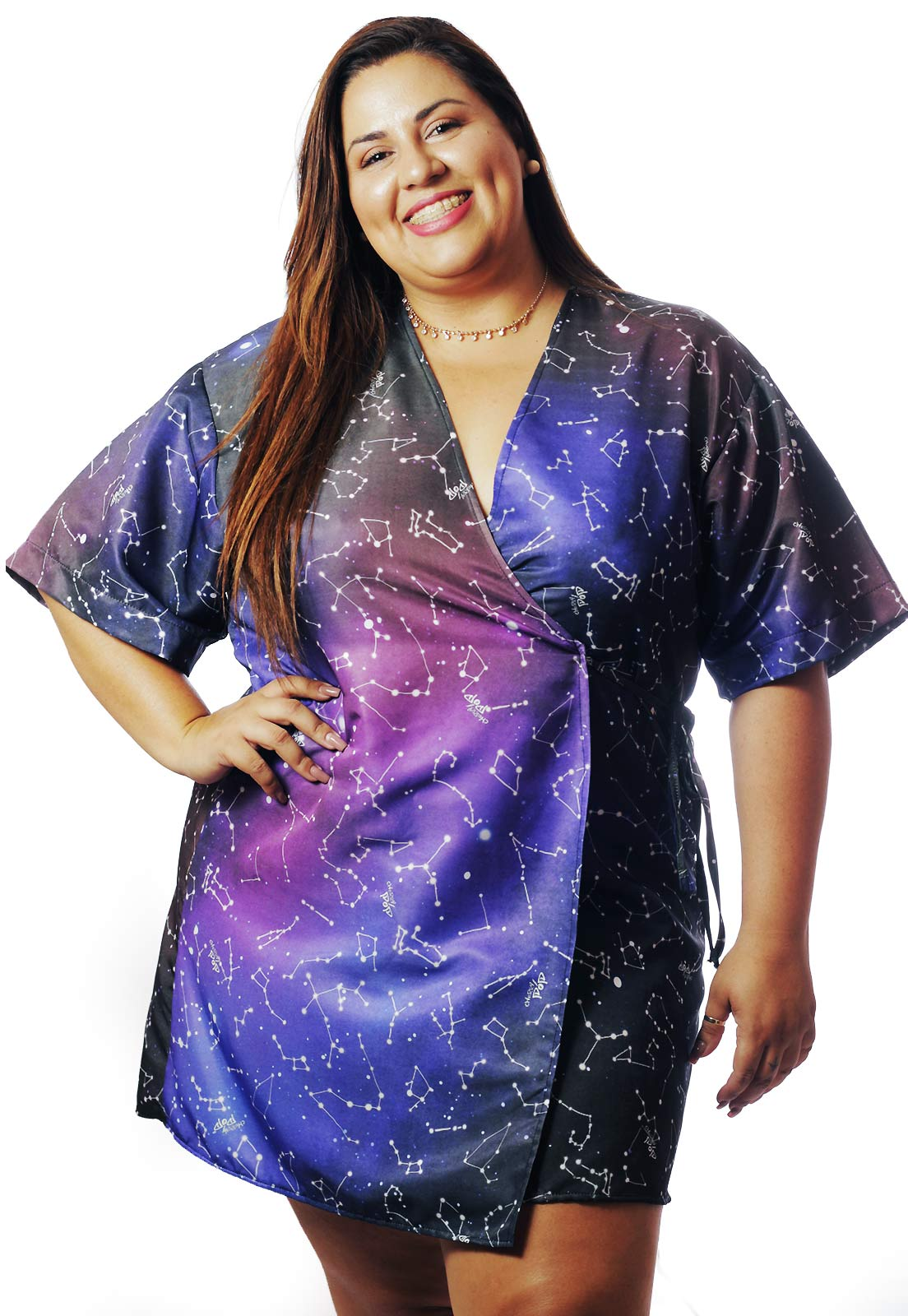Kimono Plus Size Galaxy Universo Cherry Pop
