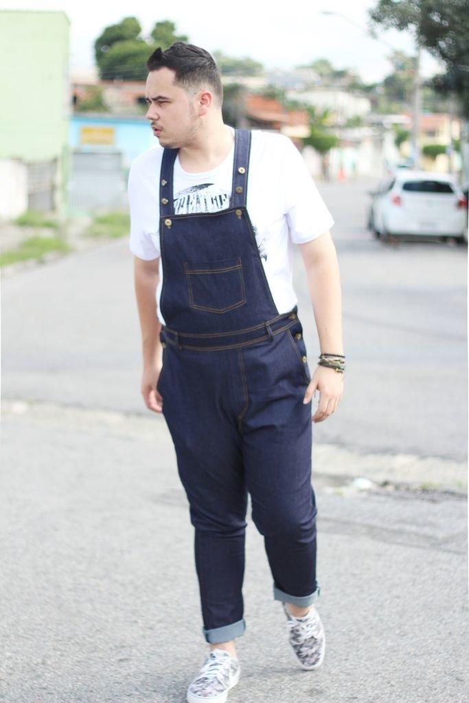 Macacão Jeans Jardineira Longo Plus Size Masculino / Sob-Medida