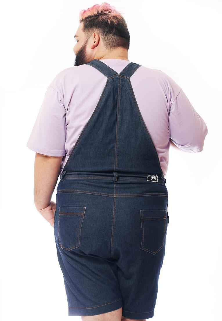 Macacão Jeans Jardineira Plus Size Masculino Curto / Sob-Medida