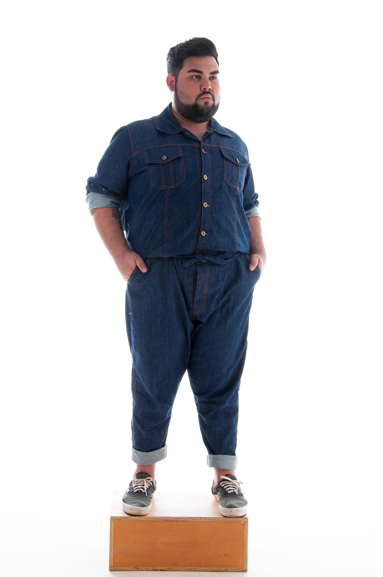 Macacão Jeans Plus Size Masculino Longo / Sob-Medida