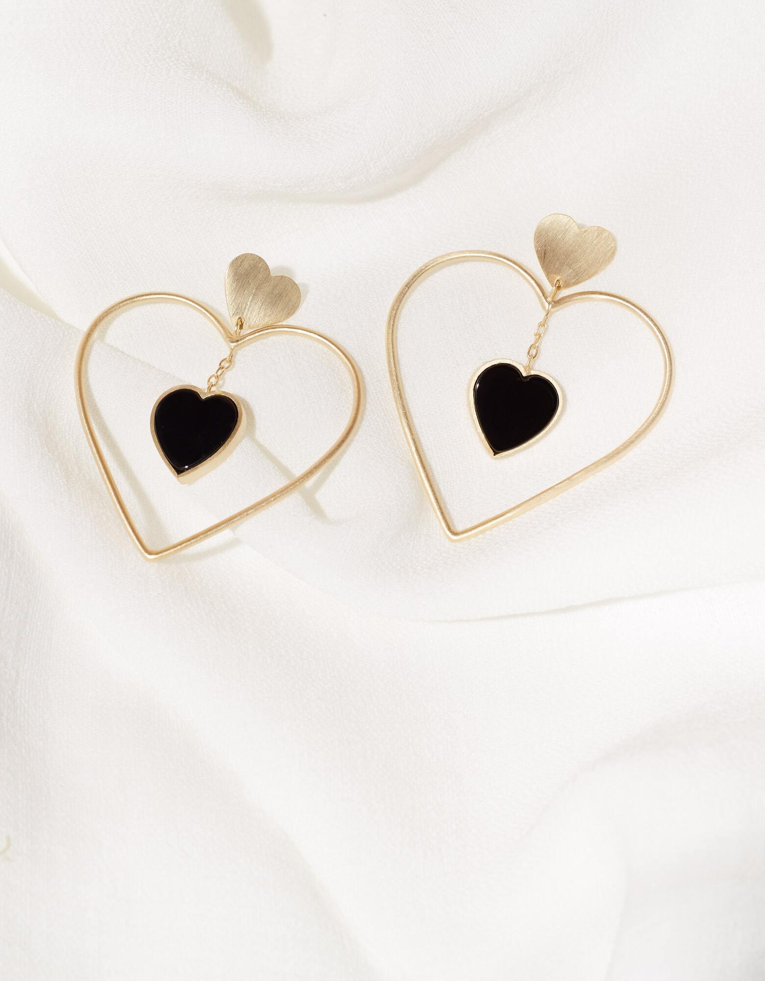 Brinco Corações Com Onix