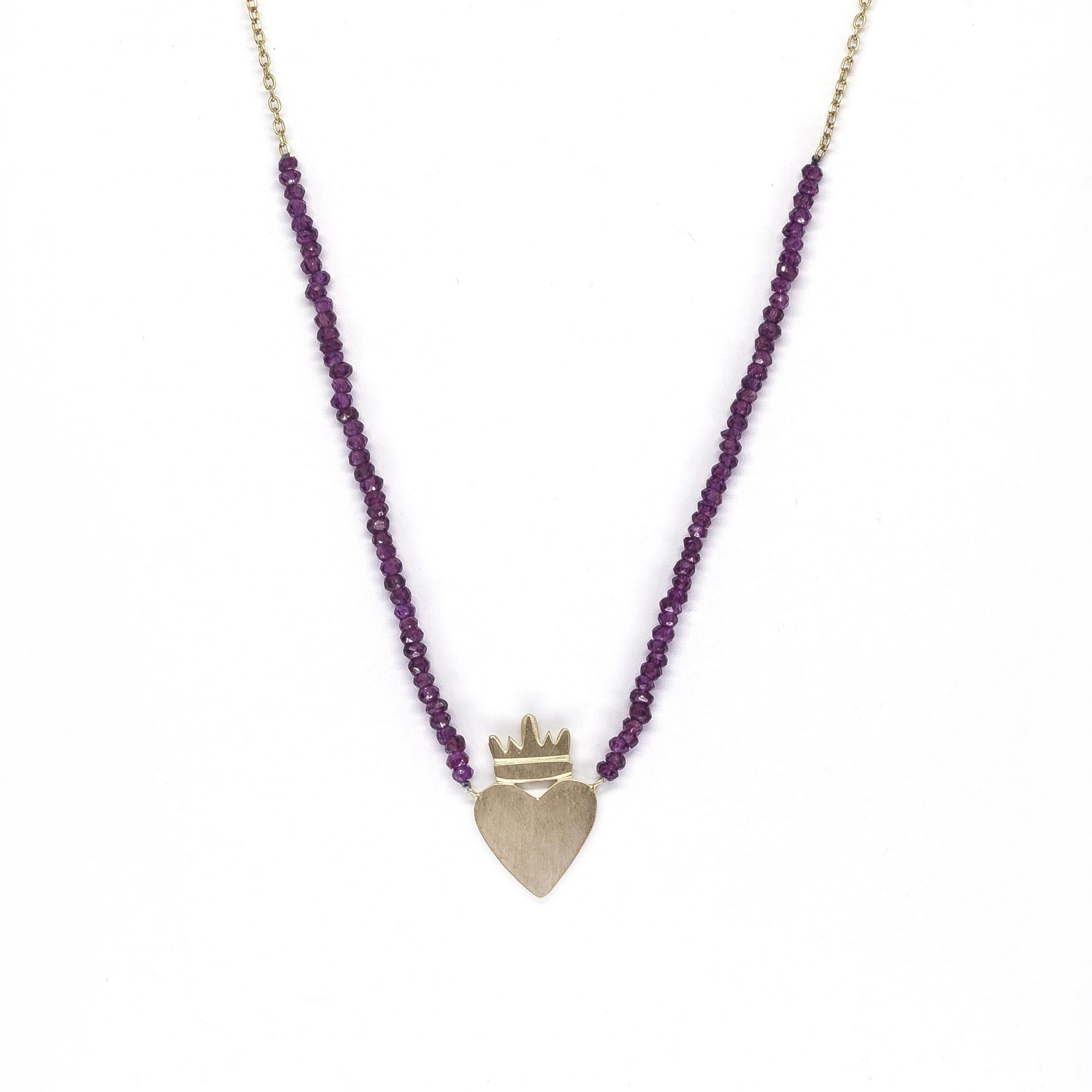 Cordão Coração Coroa Pedras