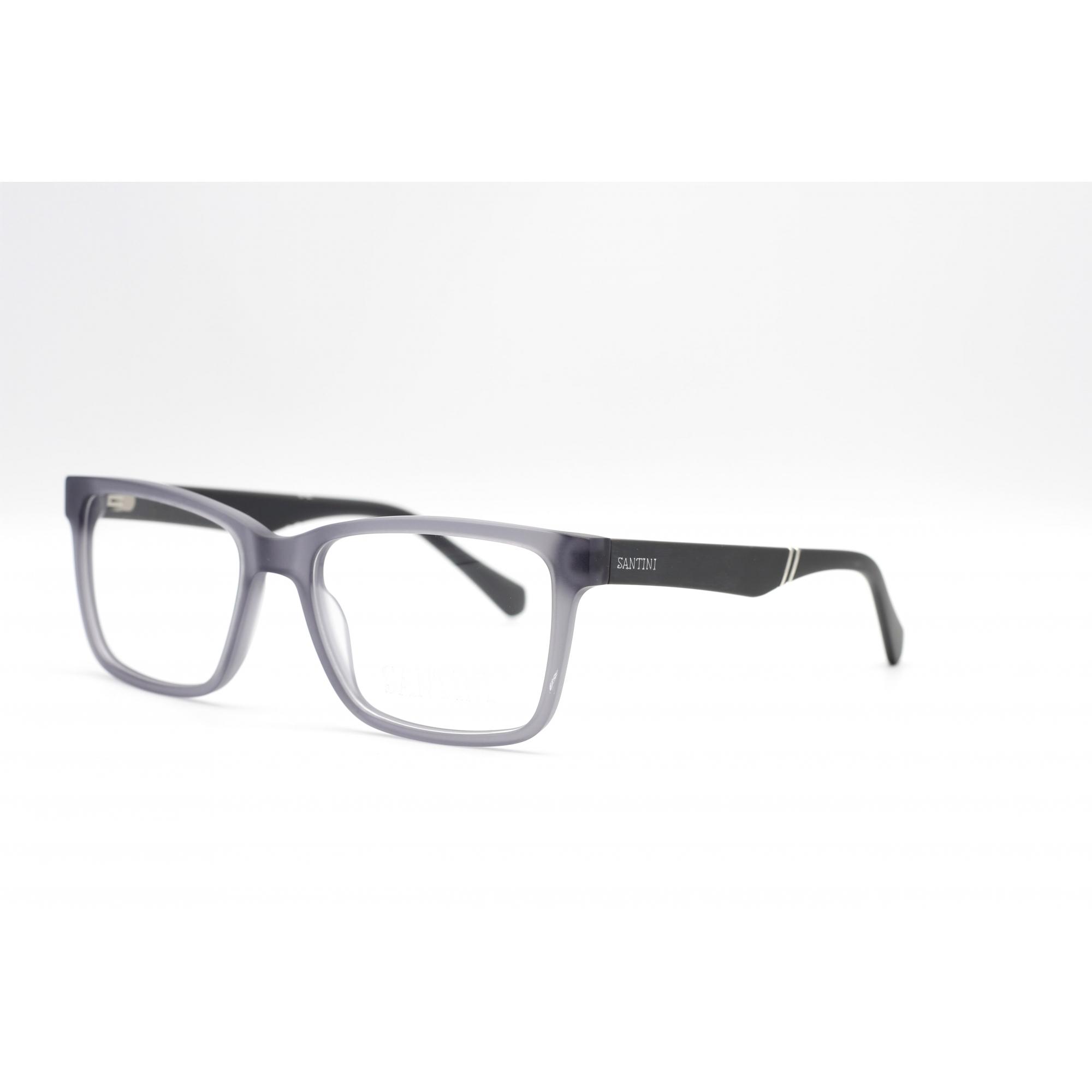 Armação com óculos sem grau, SANTINI Masculina em cor preto Ref MB4588 C3 56