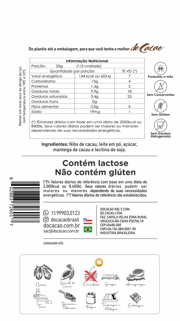 Barra de Chocolata Branco 35% 85g