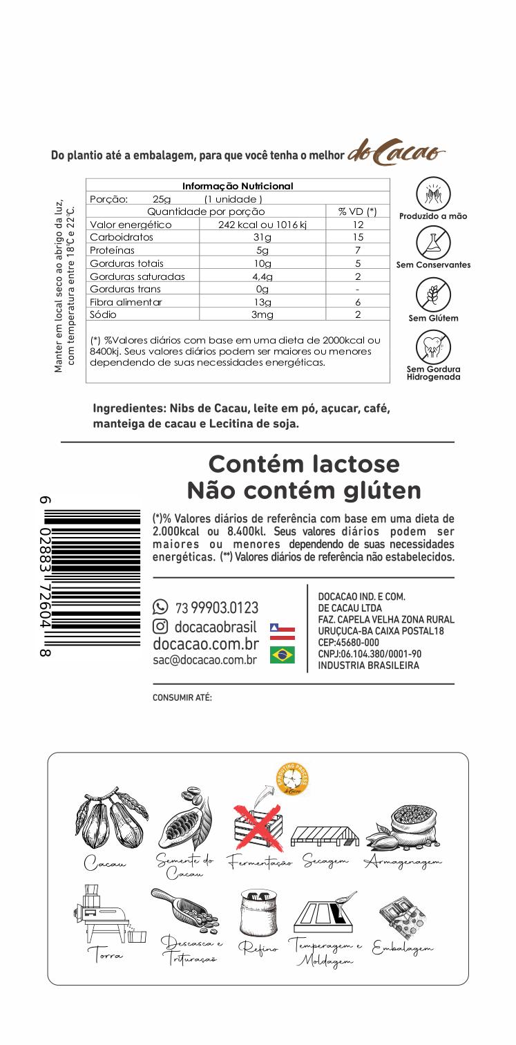 Barra de chocolate 40% com nibs de café - 25g