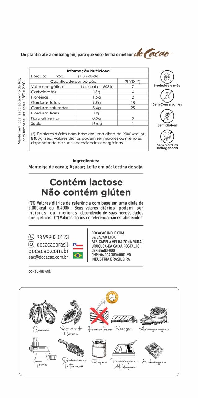 Barra de Chocolate Branco 35% 25G
