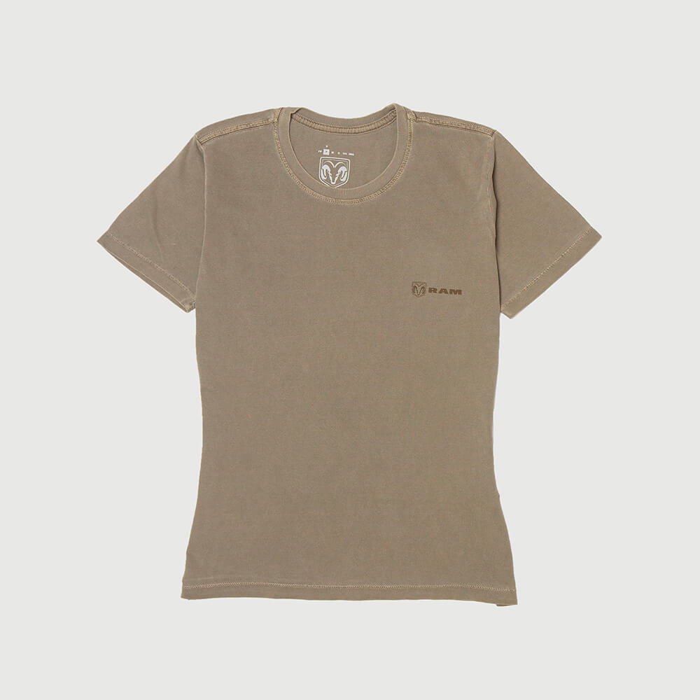 Camiseta Fem. RAM Back Print Lavada Estonada - Marrom