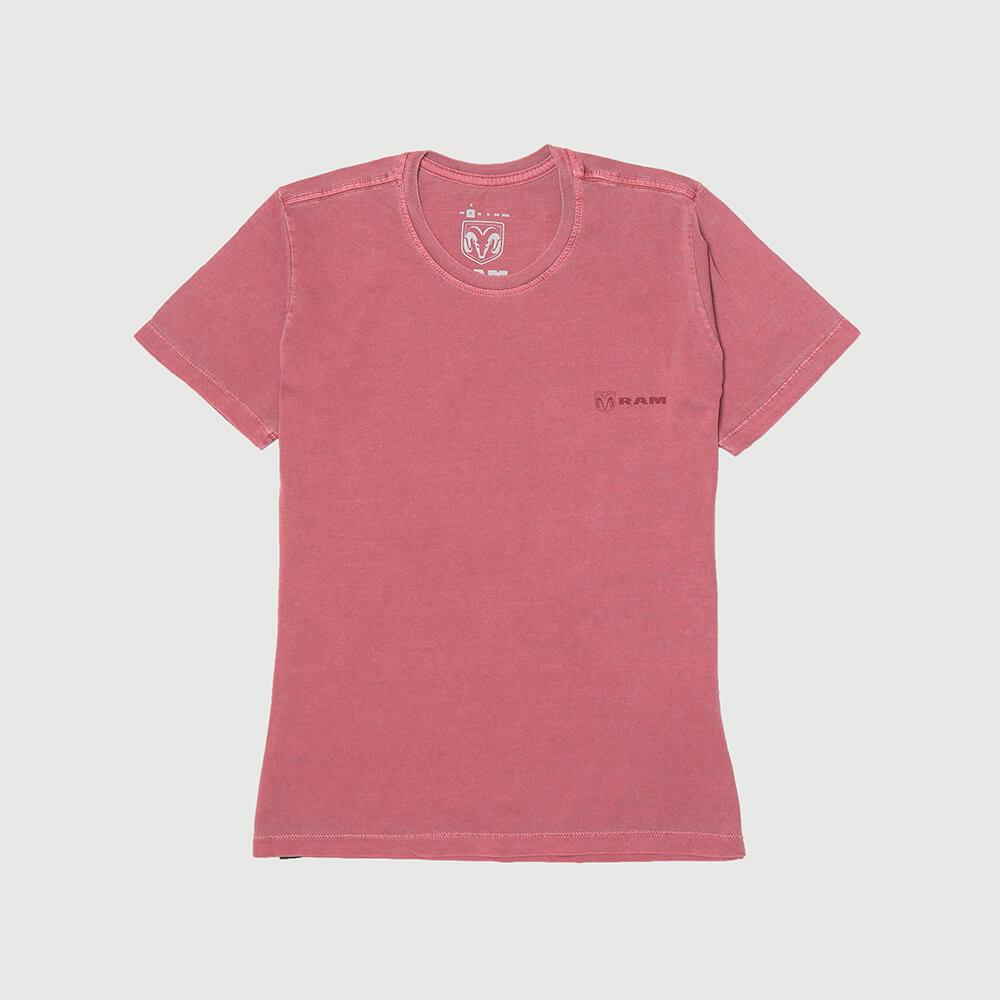 Camiseta Fem. RAM Back Print Lavada Estonada - Vinho