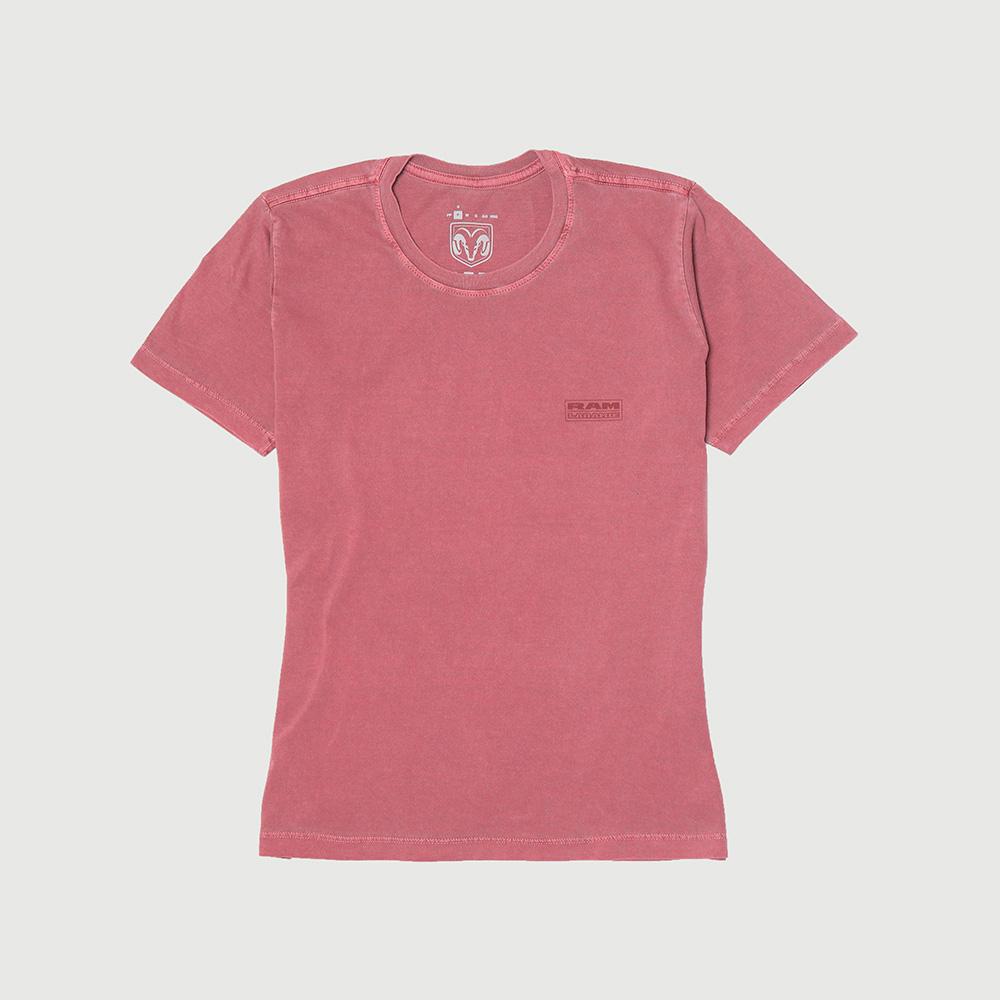 Camiseta Fem. RAM Laramie Badge Lavada Estonada - Vinho