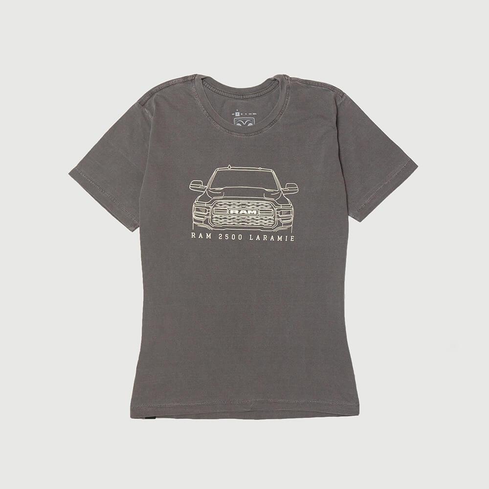 Camiseta Fem. RAM Laramie Front Lavada Estonada - Preta