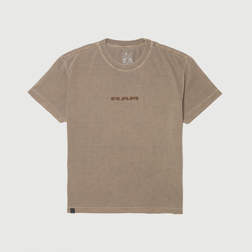 Camiseta Masc. RAM Front Lettering Lavada Estonada - Marrom