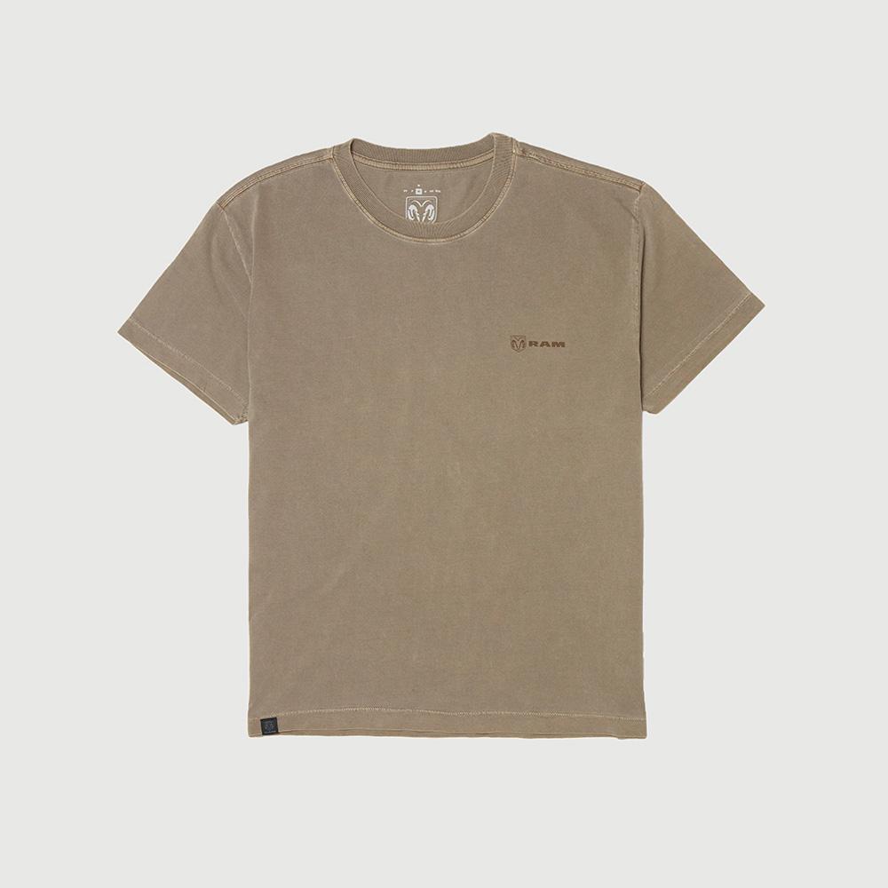 Camiseta Masc. RAM Back Print Lavada Estonada - Marrom
