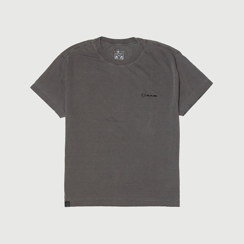 Camiseta Masc. RAM Back Print Lavada Estonada - Preta