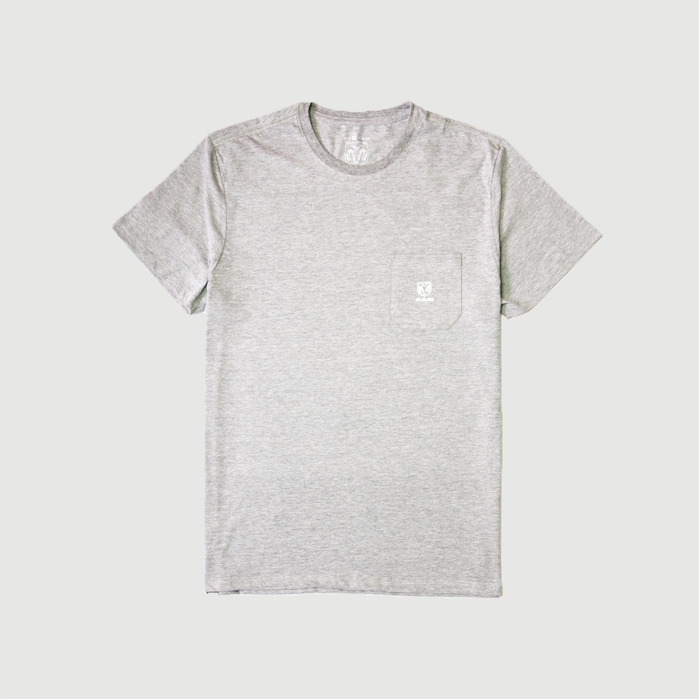 Camiseta RAM Pocket Logo - Cinza Mescla