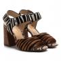 Sandália Couro Bottero Pelo Animal Print Zebra Salto Alto Feminina - Zebra