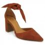 Sapato Scarpin Feminino Bico Fino c/ Amarração Bebecê Goiaba