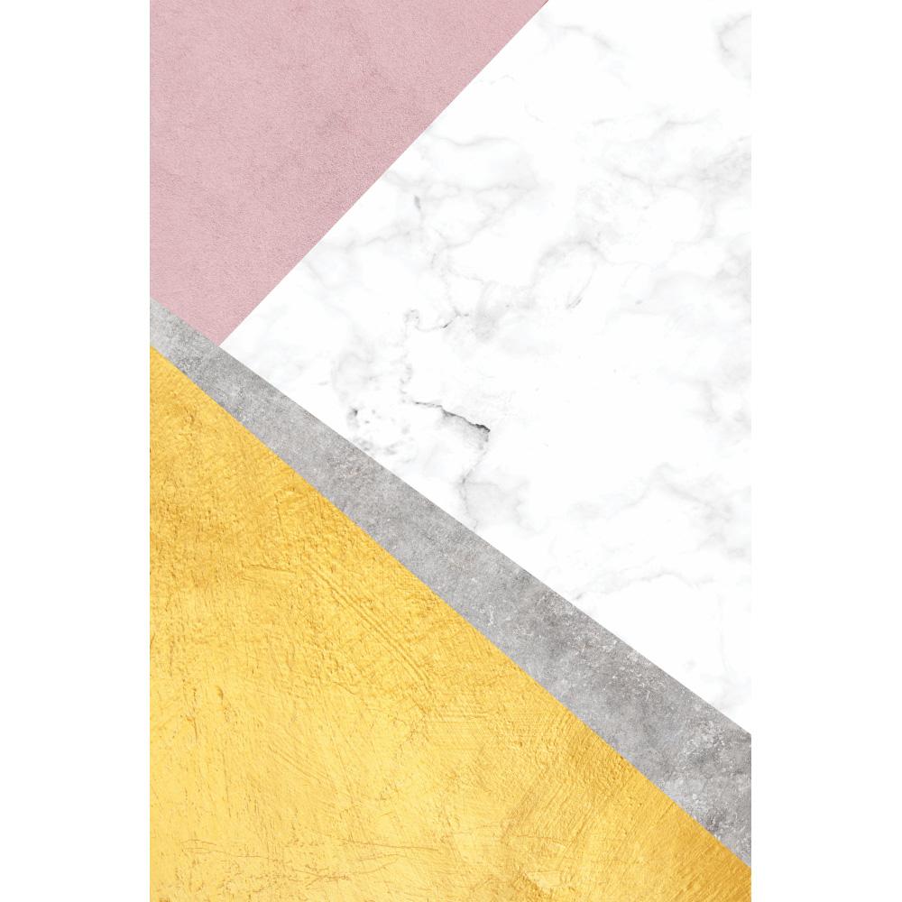 Quadro Abstrato Rosa e Amarelo Clean