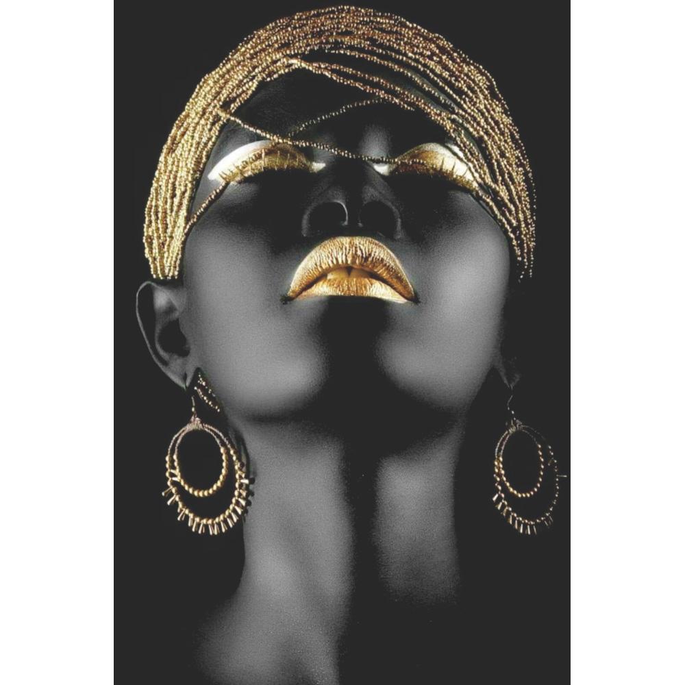 Quadro Decorativo Mulher Negra Maquiagem Dourada