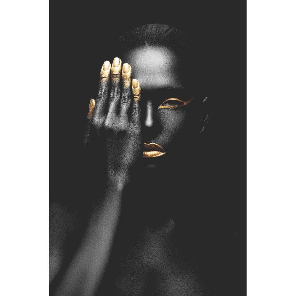 Quadro Decorativo Mulher Negra Unhas Douradas