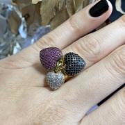 Aliança In Love Três Corações cores incolor, pink e black