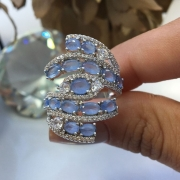 Glamour de Zircônias Azul Celeste.
