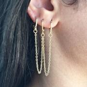 Piercing Trend argolas c/ correntinhas em ouro