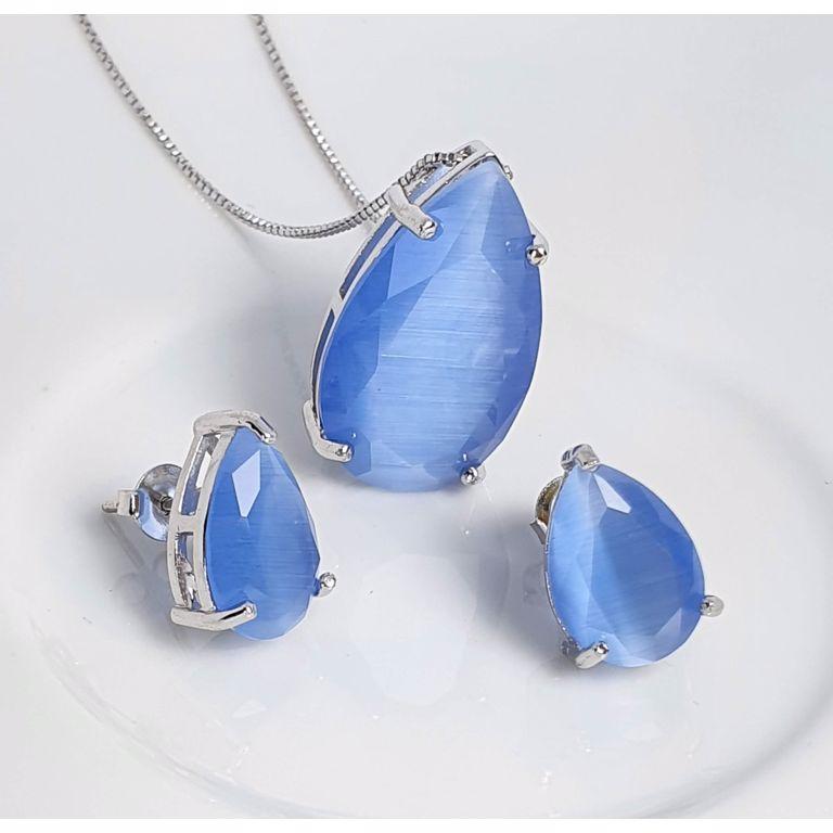 Gota, zircônia Calcedônia ágata azul.