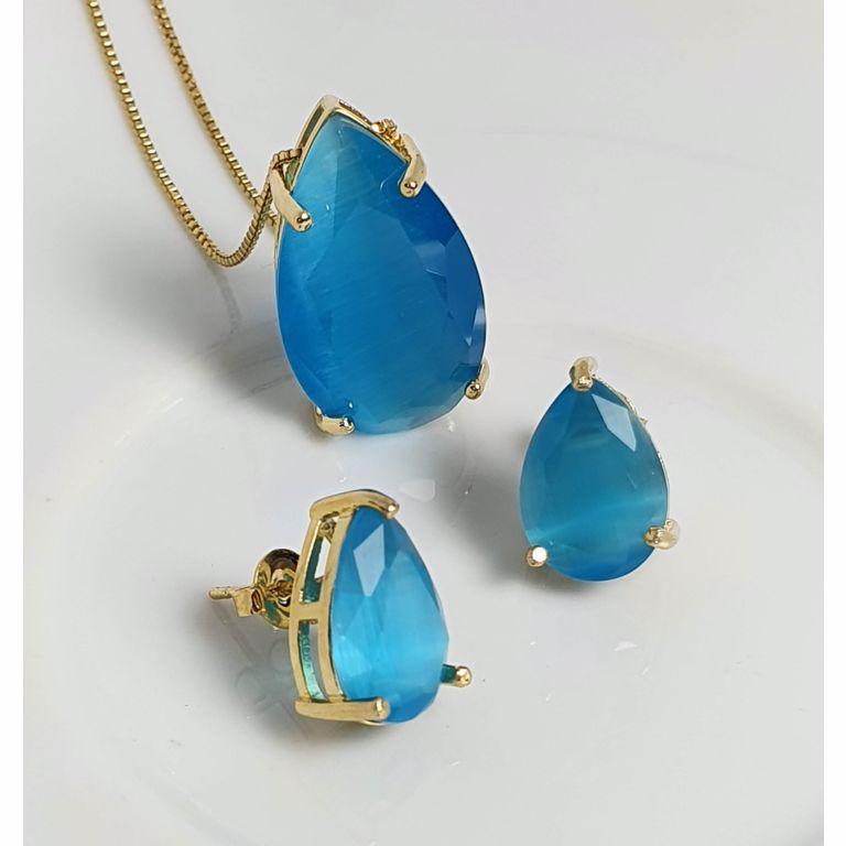 Gota zircônia Calcedônia azul.