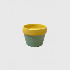 Cachepot cerâmica com bordas pines verde