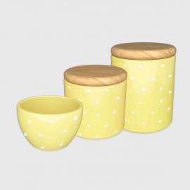Kit higiene amarelo claro poá com tampa de madeira
