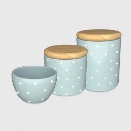 Kit higiene azul poá com tampa de madeira
